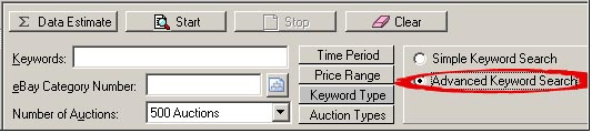 Click the Keyword Type button in the HammerTap research panel and select Advanced Keyword Search